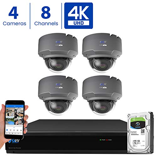 GW 8 Channel 4K H.265 CCTV DVR Security Camera System with (4) x UHD 8MP 2.8-12mm Varifocal Zoom 4K Dome Surveillance Cameras and 2TB HDD, Free Remote View, Motion Alert with Snapshot