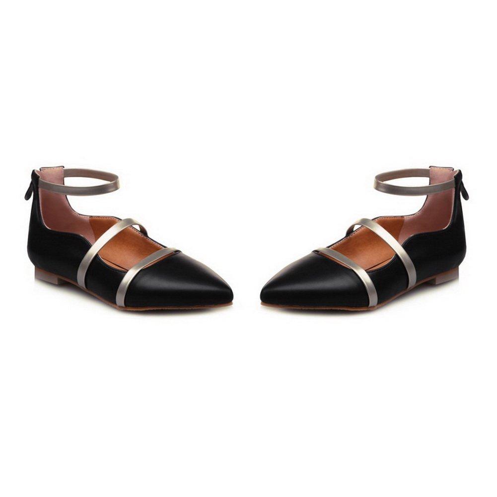 BalaMasa Ladies Two-Toned Zipper Pointed-Toe Urethane Flats-Shoes