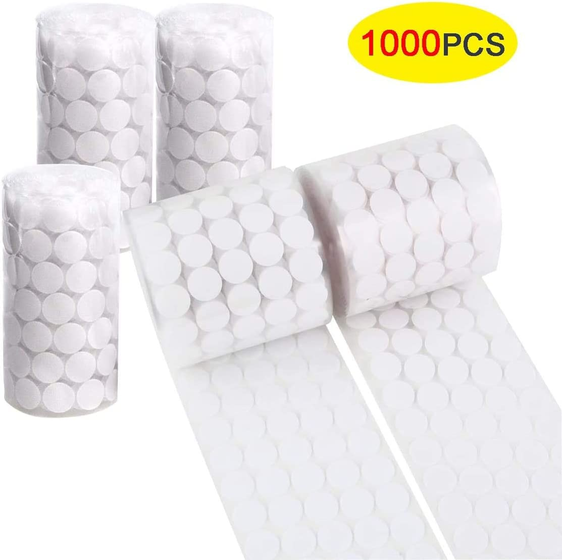 School Office Sticky Back Coins Magic Sticky Self Adhesive Double Sided Hook and Loop Self Adhesive Dots Super Sticky for Home fanshiontide 1000 Pcs 10mm Stick On Coins
