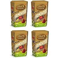 Lindt Lindor Cornet de 16 boules fondantes au chocolat au lait, noir et blanc pour les chocolats de Pâques 200 g - Lot de 4