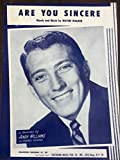 img - for Are You Sincere, as recorded by Andy Williams on Cadence Records. Piano arrangement by Dick Kent book / textbook / text book