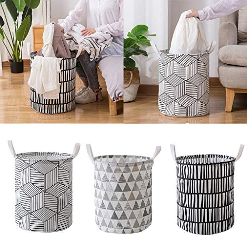 BiuBuy Large Laundry Basket Drawstring Waterproof Round Storage Basket Canvas Laundry Hamper Bucket with Handles for Storage Bin,Kids Room,Home Organizer,Nursery Storage (A)