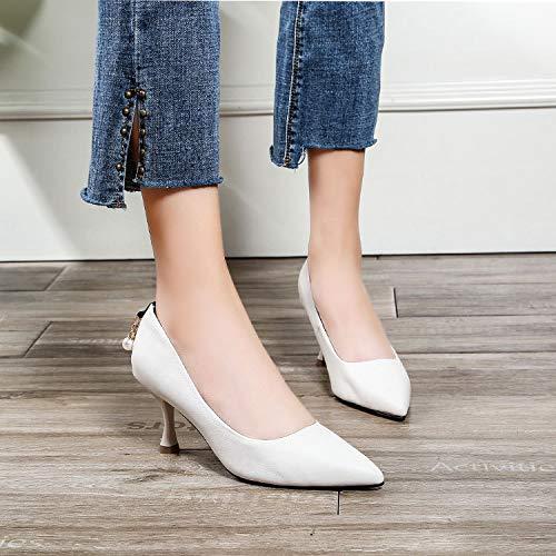 Yukun zapatos de tacón alto Acentuados Solos Zapatos De La Boca Baja Acentuados Solos Zapatos De Las Mujeres De La Primavera De La Manera Señoras Tacones De Aguja Otoño White