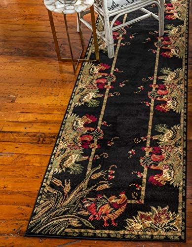 Unique Loom Barnyard Collection French Country Cottage Roosters Black Runner Rug 2 7 x 10 0