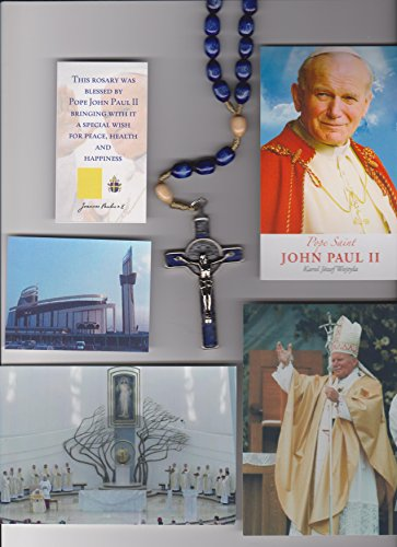 Saint Benedict Three Inch Crucifix Blue Wood Rosary Blessed by Pope John Paul II on 8/17/2002 in Krakow Poland with Gold Satin Bag, Pictures of Mass, Mysteries and Vintage Polish ()