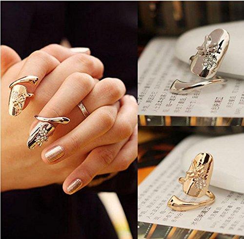 Kingken - Anillo de uñas para mujer, diseño de libélula con diamantes de imitación brillantes