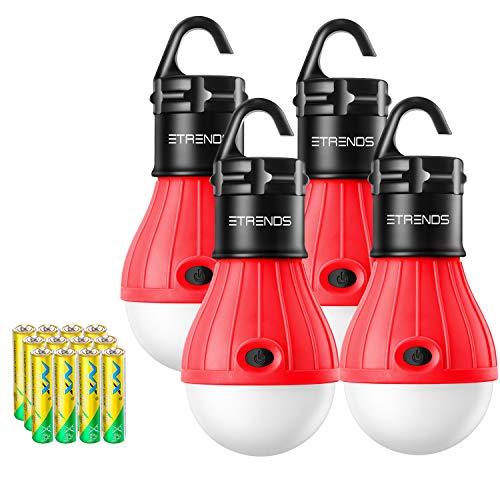 E-TRENDS 2 Pack/4 Pack Compact LED Lantern Tent Camp Light Bulb for Camping Hiking Fishing Emergency Lights, Battery Powered Portable Lamp (Red, 4 Count)