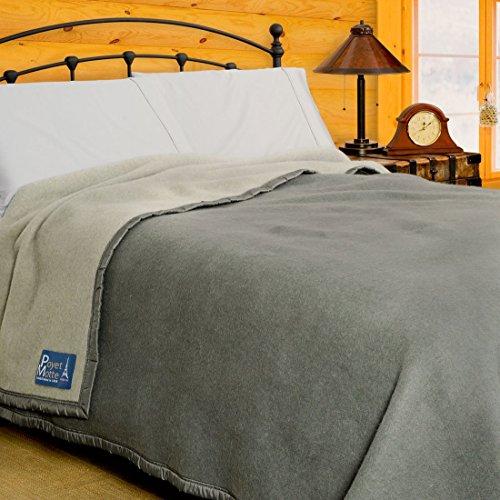 (Poyet Motte Aubisque 500GSM Heavyweight 100-Percent Wool Blanket (King, Grey/Lt Grey))