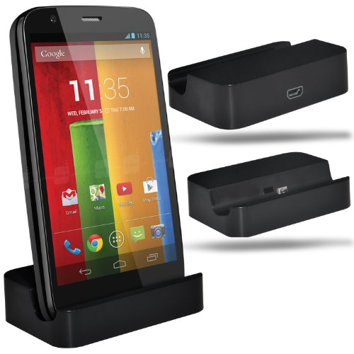 Alcatel One Touch Idol X+ Plus Micro USB Desk Top Stand Charger Charging Dock (BLACK) By Fone-Case