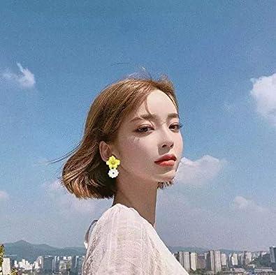 Cute Sweet Flower Crystal Beaded Ball Stud Earrings For Women Girls