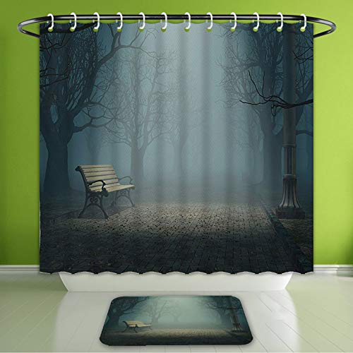 Waterproof Shower Curtain and Bath Rug Set Farm House Decor Bench in The Park On A Dark Mysterious Night Scary Forest Horror Theme Habitat Bath Curtain and Doormat Suit for Bathroom 66