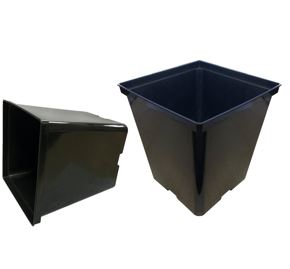 Oppolite 1 2 Gallon 96-Packs Square Black Plastic Nursery Plant Pots Flower Plastic Pots for Plant Growing 1 Gallon Square, 96-Pack