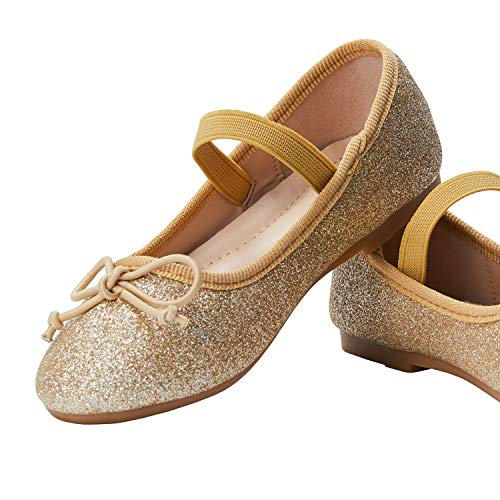 ADAMUMU Toddler Dress Shoes Mary Jane Shoes for Girls Ballerina Flat Glitter Shoes for Princess Wedding Party School Uniform Daily Wear,10.5M US Toddler,Gold