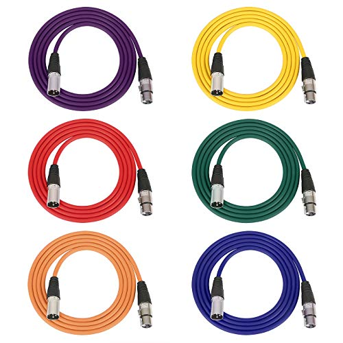 HDE XLR Patch Cable Cords 6ft XLR Male to XLR Female Color Coded Rubber Shielded Instrument and Microphone Cables with Reusable Cable Ties (6 Pack, Male to Female)