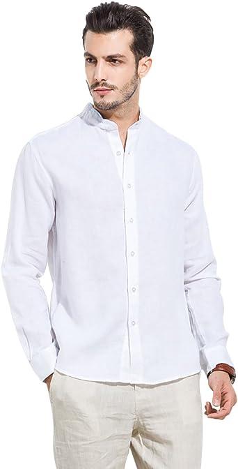 UAISI Camisa de Manga Larga Lino Fibra Hombre, Manga Larga, Slim Fit, Camisa Elástica Casual/Formal para Hombre: Amazon.es: Ropa y accesorios