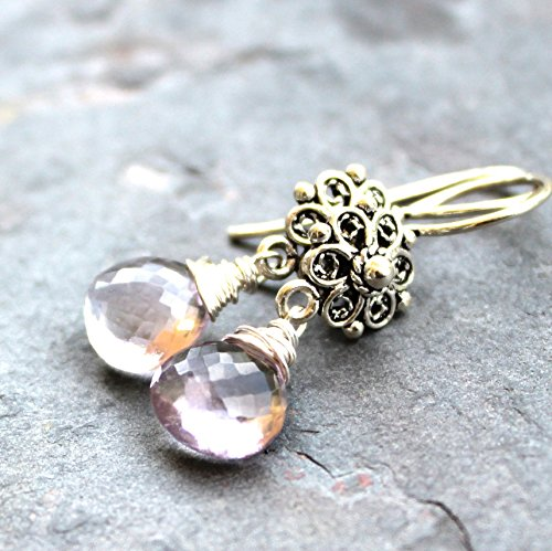 Pink Amethyst Earrings Sterling Silver Filigree Floral Rose Faceted Briolette Dangles Sterling Floral Filigree Earrings