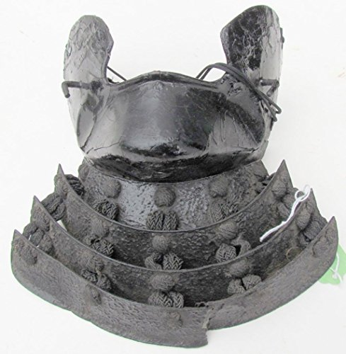(17th CENTURY (?) ANTIQUE JAPANESE SAMURAI ARMOR MASK IRON LACQUER MENPO of YOROI)
