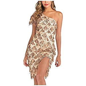 Hapae Gatsby 1920s Flapper Dress Women Vintage Sequin Fringe Beaded Art Deco Fancy Dress with Sleeve for Party Prom Sexy Off Shoulder Ladies Cocktail Dresses