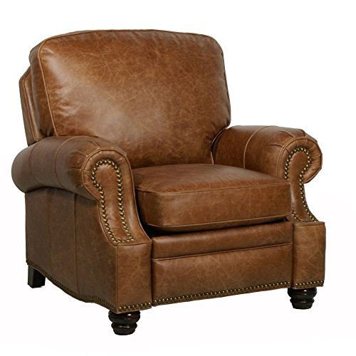 Barcalounger Longhorn II Leather Recliner Chaps Saddle Top Grain Leather Chair with Espresso Wood Legs - Standard Ground Curbside Delivery in Lower 48 States - Leather Grain Espresso Top