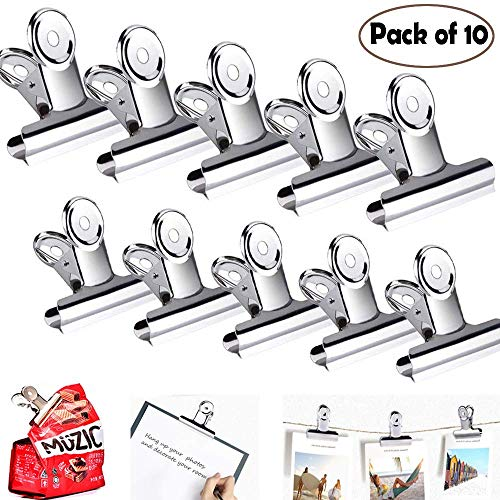 Chip Clips Bag Clips Food Clips Clamps[Keeps Bags Closed & Air Tight Seal]Large Wide Clips Grip for Coffee Snack Bags for Kitchen/Office/Paper/Garage/Camping/Parties-Heavy Duty Stainless Steel-16 Pack