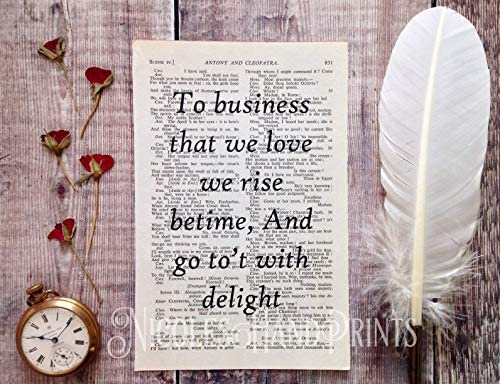 Home Business//Home Office Decor Shakespeare Inspirational Work Quote Print Upcycled Vintage Book Page Wall Art Writer Present New Business Gift Small Business Gift