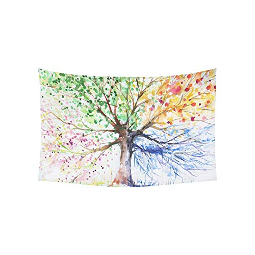 WJJSXKA Tapestry Watercolors Four Season Tree of Life Painting Tapestries Wall Hanging Flower Psychedelic Tapestry Wall Hanging Indian Dorm Decor for Living Room Bedroom 60 X 40 Inch