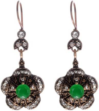 Round Emerald Gemstone Antique Five Leaves Flower Filigree Diamond Accent Hurrem Sultan Style Vintage Drop and Dangle Earrings