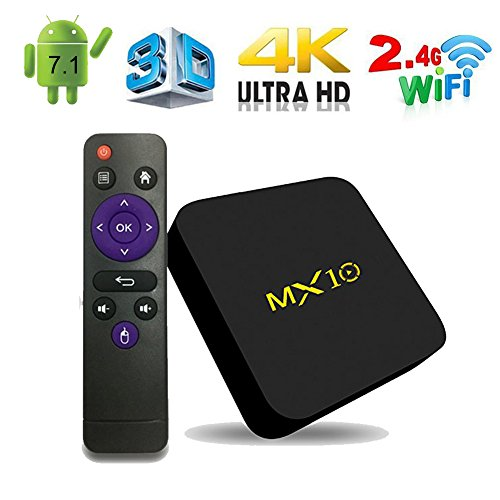 Android TV Box, MX10 Android 7.1 TV Box with RK3328 Quad Core 4GB DDR4 RAM 32GB ROM Smart TV Box Support 2.4GHz WIFI/100M LAN/3D Movies/4K Solution 2018 Model by Mrtech