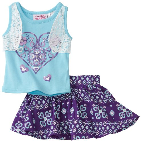 Young Hearts Baby Girls' Mock 2 Piece Top and Woven Skooter Set, Teal Tap, 24 Months