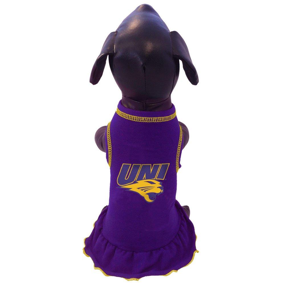 Tiny All Star Dogs Northern Iowa Panthers Cheerleader Dog Dress, Tiny