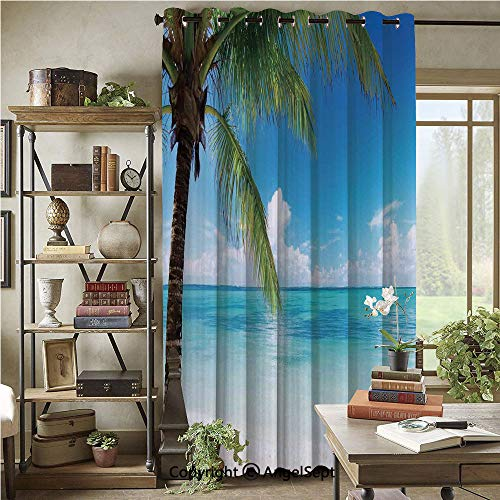 Patio Sliding Door Curtain,Exotic Beach Water and Palm Tree by The Shore with Clear Sky Landscape Image Decorative,76x108inch,Wide Blackout Curtains,Green Blue White