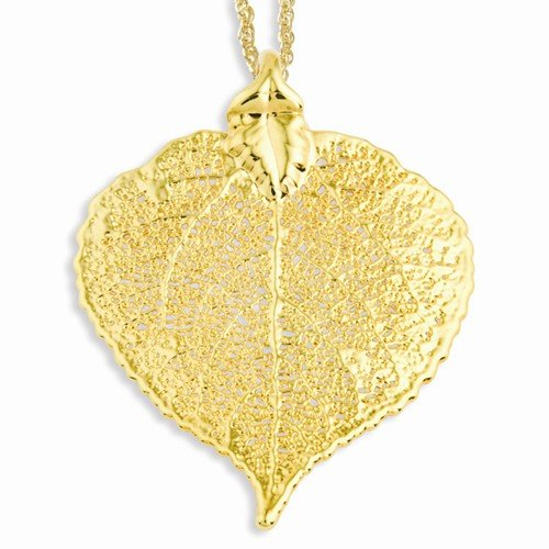 24k-Gold-Dipped-Aspen-Leaf-with-Gold-Plated-Chain