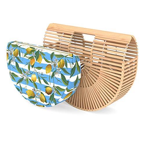- Bamboo Handbag - Womens Basket Bag with Purse Insert - Handmade Summer Tote