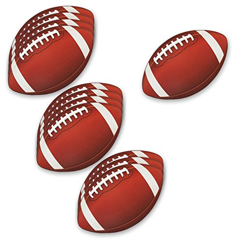 Blue Panda 12-Pack Football Cutouts - Football Cutouts for Sports Themed Celebrations, Football Party Decorations, Tailgate Party Supplies, 13 x 8 Inches]()