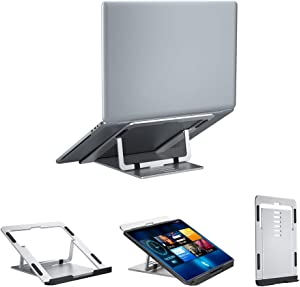 "Adjustable Laptop Stand, Computer Stand for Laptop Notebook Holder Stand Ergonomic Multi-Angle Laptop Riser with Heat-Vent Portable Laptop Holder Compatible for MacBook Pro/Air, All 10-15.6"" Laptops"