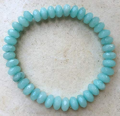 Stunning Handmade Genuine Brazilian Aquamarine semi Precious Gemstone Faceted 5x8mm Bracelet by Gemswholesale