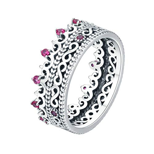 Xinmeitezhubao Ring, S925 Sterling Silver Crown Ladies Ring, Cutout Set with red Zircon - Crown Out Ring Cut