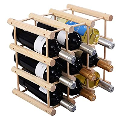 Wood Wine Rack Bottle Holder Storage Display Natural Kitchen 12 Bottle