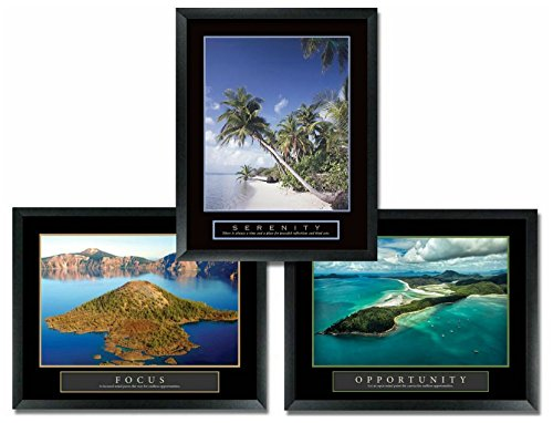 3 Framed Serenity Beach Focus and Opportunity Tropical Islands Motivational Posters