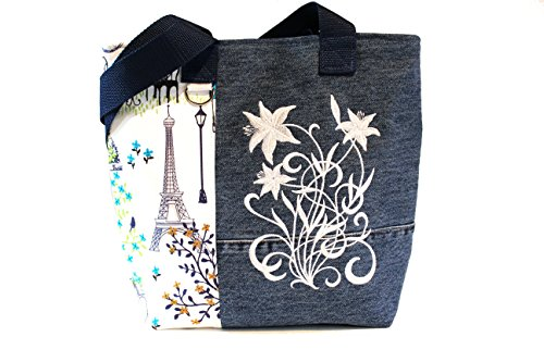Tote Bag- French Paris Scene- A recycled denim, embroidered, lined totebag. Eco-Friendly handbags