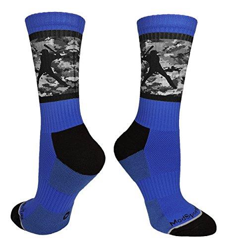 (MadSportsStuff Baseball Socks with Player on Camo Background Crew Socks (Royal/Black Camo, Large))