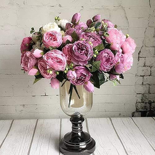 造花 花束 シャクヤク バラ シルク ブーケ アートフラワー 店舗 お祝い パーティー 結婚式 プレゼント アレンジメント 豪華 B07QBLL8NW