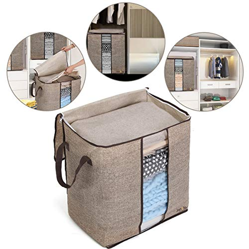 Janolia Clothes Storage Bag, Foldable Blanket Quilts Bag, Eco Friendly Bamboo Non-Woven Fabric (Brown)