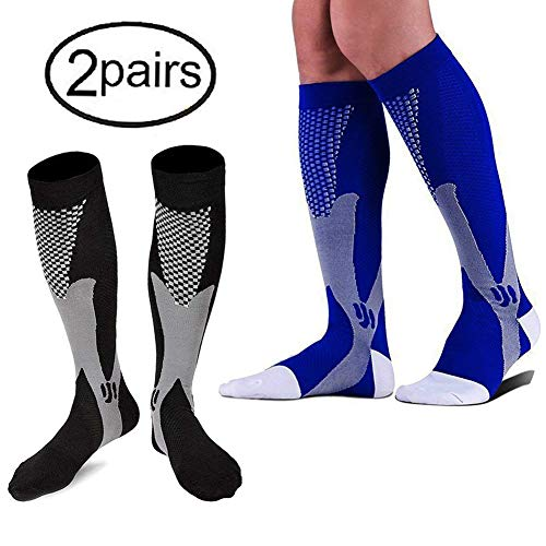 2 Pairs Graduated Compression Socks - Knee High, unisex for Men,Women 20-30mmHg by HTINXED