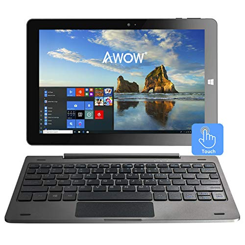 10.1 inch Touch Screen Windows 10 2 in1 Laptop Tablet PC with Intel X5-Z8350 Quad-Core 1.44Ghz/IPS HD 1280 X 800/4GB/32GB/Dual Webcam/Wi-Fi/Bluetooth 4.0/Micro HDMI/Micro SD/USB/Iron Gray/Keyboard