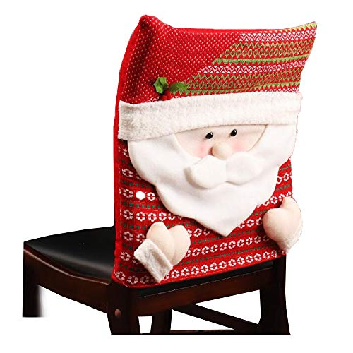 DENTRUN Christmas Kitchen Chair Slip Covers,Santa Claus Snowman,Festive Decor Dinner Decor Dining Room Chair Covers, for Holiday Party Festival Halloween -