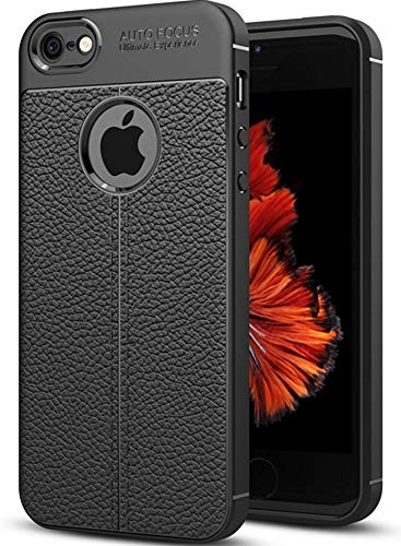 factory price 15ad8 58036 Amozo Leather Textured Autofocus Soft Back Case Cover for Apple iPhone 5 5S  SE - Black