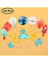 24 Pieces/Pack Planet Theme Cupcake Toppers Picks, for Friends Cake Toppers, Kids Planet Theme Birthday Party Baby Shower Cake Decoration
