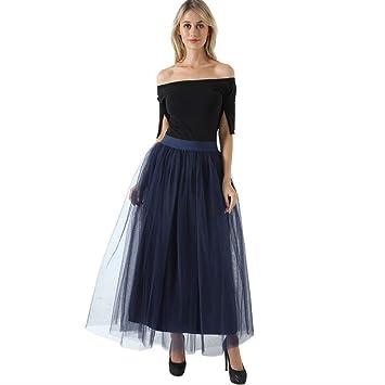 QYYDBSQ 4 Capas 100 cm Faldas largas de Tul para Mujer Falda ...