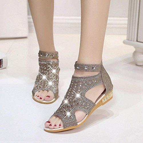 Zapatos Cuentas de con Chanclas Playa Verano de Cu Zapatos Sandalias Casuales Toe Pescado Oro A de Dulce Hueco Roma Sandalias de Mujer a Clip de Boca Damas Hq6B6Ox